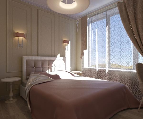 Интерьер комнаты с неоклассическом строгом стиле