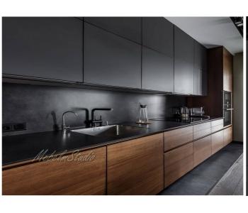 Кухня краска матовая и шпон. кухня до потолка