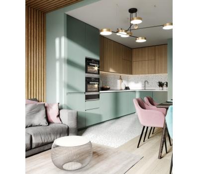 Кухня до потолка в современном стиле фисташковый и дерево.