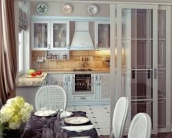 Воздушная кухня с голубой патиной