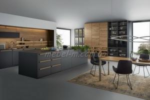 Кухня из шпона и матовой краски