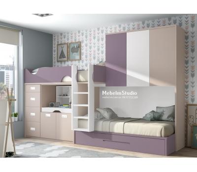 Детская комната с двухъярусной кроватью - Мокко