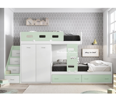 Детская комната с двухъярусной кроватью Чердак - Мята