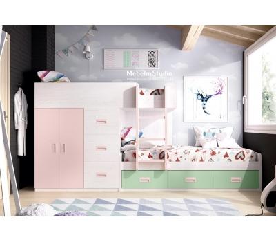 Детская комната с двухъярусной кроватью Чердак - Круассан